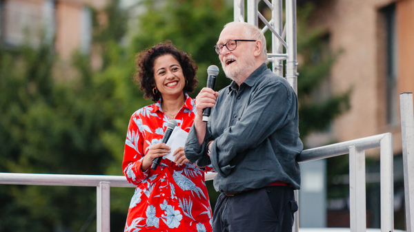 Mike Hodges and Samira Ahmed at Cinema Rediscovered 2018's outdoor screening of Flash Gordon. Photographer: Jack Offord